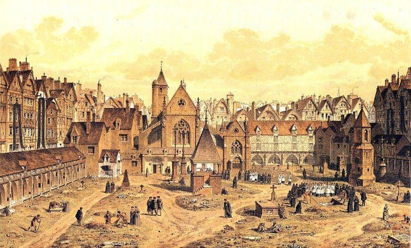 """בית הקברות """"החפים מפשע"""". ציור משנת 1550. מקור ציור ויקיפדיה"""