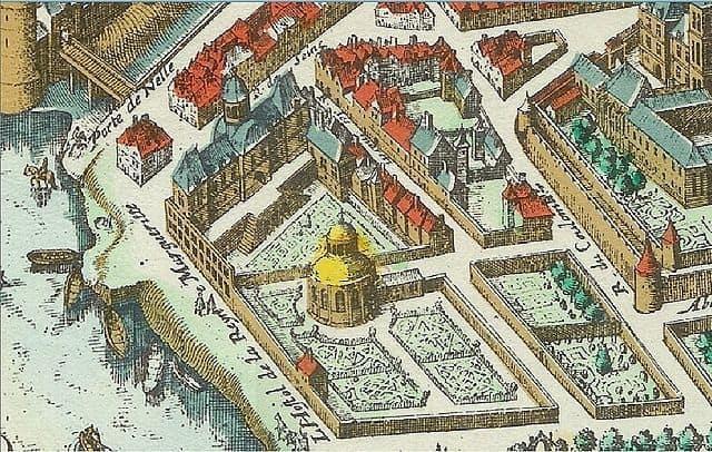 תרשים של הארמון שבנתה לעצמו המלכה מארגו בגדה השמאלית בפריז