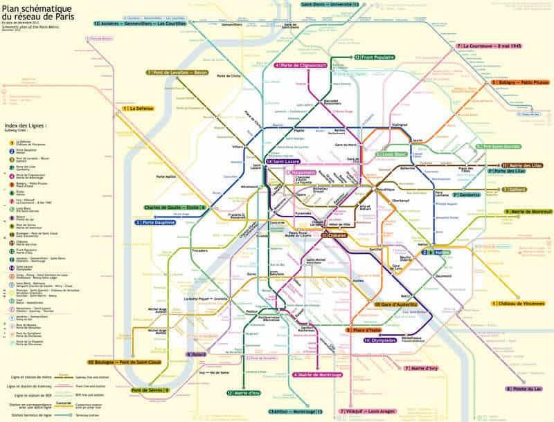 מפת המטרו של פריז. מקור תמונה: ויקיפדיה.