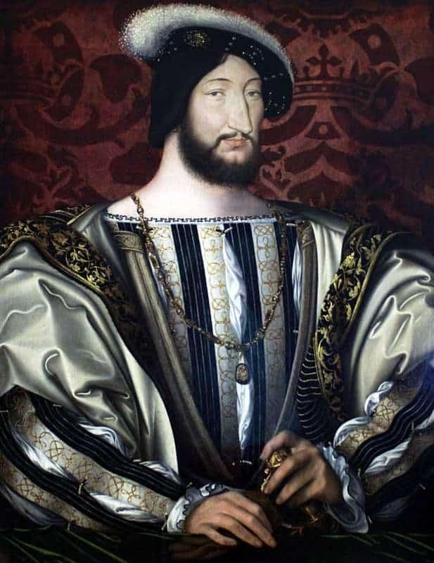 ז'אן קלואה, פרנסואה ה-1 מלך צרפת, 1530 בקירוב, מוצג במוזיאון הלובר. מקור ציור ויקיפדיה.