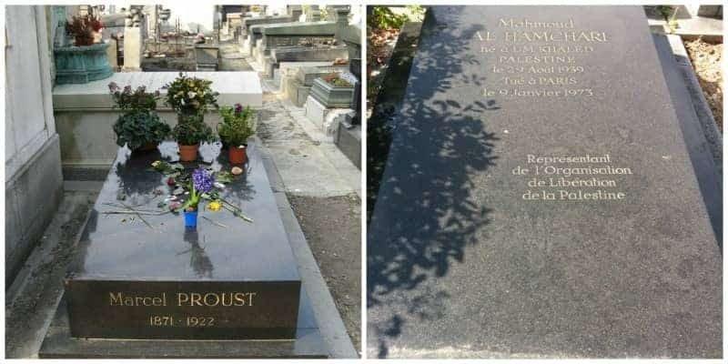 מימין קברו של הטרוריסט חמשארי ומשמאל קברו של פרוסט. מקור צילום ויקיפדיה.