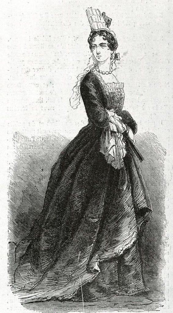 האדון דה שואזי לבוש בבגדי אישה