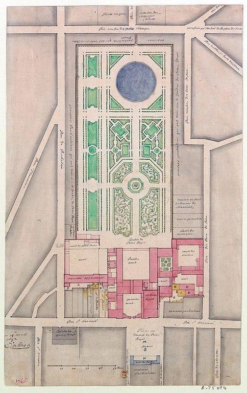מפת הפאלה רויאל משנת 1692. ניתן לראות בה את הגן שסיים לבנות מתכנן הגנים הידוע אנדרה לה נוטר בשנת 1674, ארבע שנים לאחר מותה של הדוכסית מאורליאן