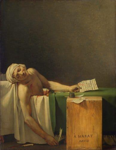 מות מארה. ציור מאת ז'אק לואי דוד.