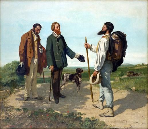 """גוסטב קורבה, הפגישה או """"בונז'ור מיסייה קורבה"""", 1854, 149X129 ס""""מ, מוזיאון פאבר, מונפלייה"""