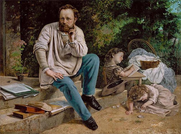 """גוסטב קורבה, פרודון ובנותיו ב-1853, 1865, שמן/בד, 198X147 ס""""מ, מוזיאון פטיט פלה, פריז"""