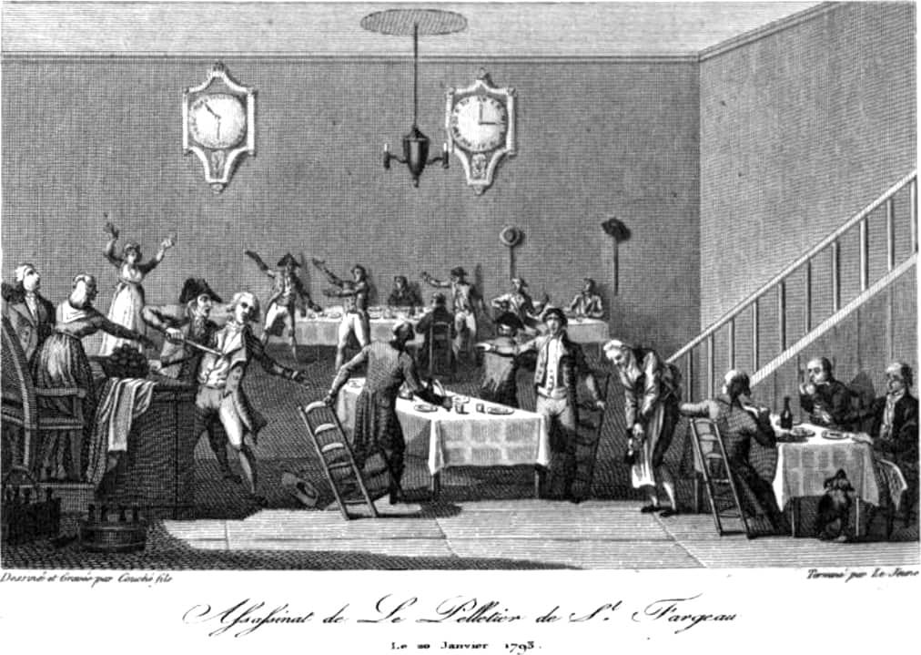 מותו של לפלטייה סן פארגו בקפה פברייה שבפאלה רויאל.