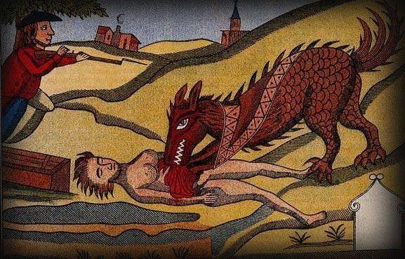 תחריט מן המאה ה -18 המתאר את המפלצת