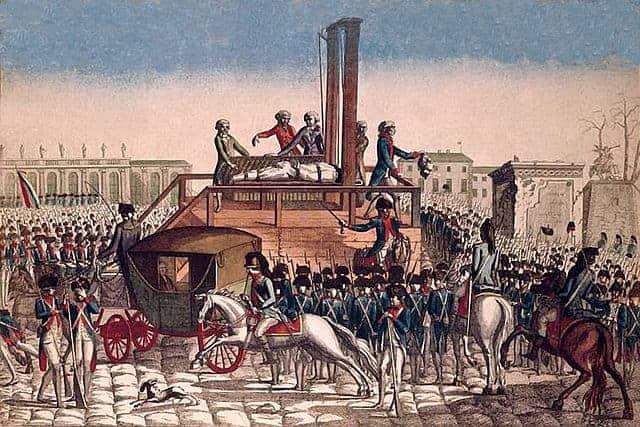 הוצאה להורג באמצעות גיליוטינה בעת תקופת הטרור בפריז. מקור התמונה וויקיפדיה