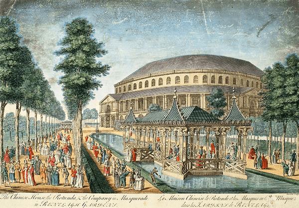 המבנה בעל הכיפה והביתן הסיני במתחם הבילויים ראנלאג (1754)