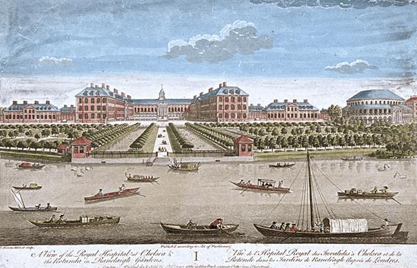 הרויאל הוספיטל צ'לסי ומתחם הבילויים ראנלאג מעבר לנהר התמז כשהמבנה בעל הכיפה בצד ימין (1749)