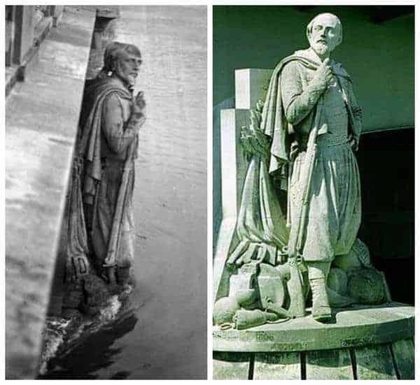 מצד ימין פסל הזואב בימים כתיקונם. מצד שמאל פסל הזואב כשמי הסיין עולים על גדותיהם. מקור צילום ויקיפדיה.