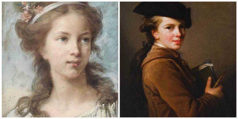 מצד ימין פורטרט של אחיה של אליזבת אותו ציירה על מנת להתאמן. מצד שמאל אוטופורטרט של אליזבת בגיל 17. מקור תמונות ויקיפדיה.