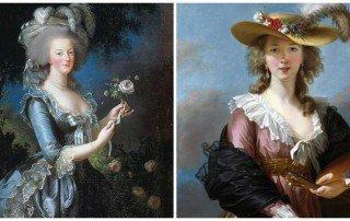 מימין אליזבת' ויז'ה לברון. מצד שמאל מארי אנטואנט. מקור הציורים ויקיפדיה.