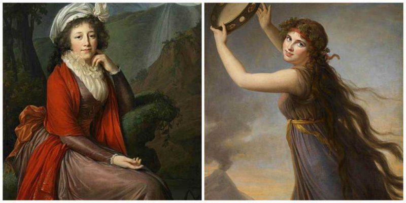 התמונה מצד ימין היא דיוקן של ליידי המילטון משנת 1790. הדיוקן מצד שמאל הוא של הרוזנת תרזה בוקואה משנת 1793. מקור התמונות ויקיפדיה.