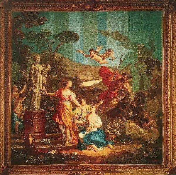 סילנוס ואנליאה,שטיח קיר, גובלן, 1787 בקירוב, ארוג ע״י קוזט בנול ניצב מחוטי צמר ומשי עם שוליים דמויי מסגרת; גובה 3.80 מ׳, רוחב 3.80 מ׳.