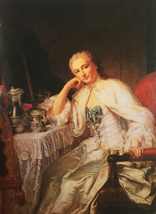 דיוקן פרנסואז דה-רנס, הברונית דה-ואן (״מעל לדלת… דיוקן של מאדאם דופלה דה בקנקור הנשענת על שולחן האיפור שלה״).שמן על בד, אבד (ז׳אק אנדרה ז׳וזף קמלו), צרפת 1739.