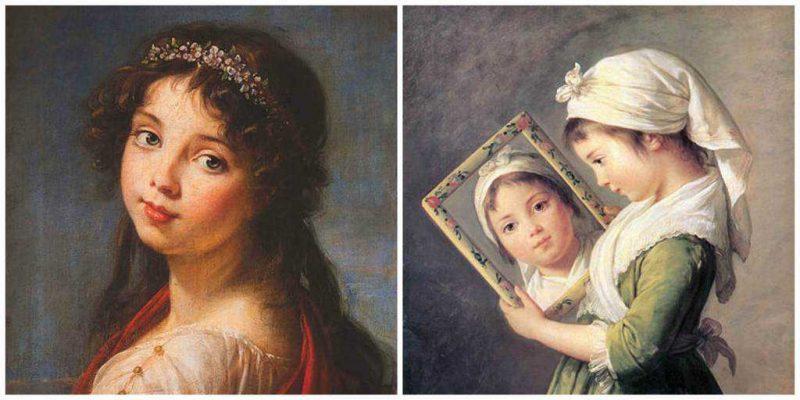 שתי תמונות של ז'ולי לברן, ביתה של הציירת. מימין פורטרט משנת 1787 ואילו משמאל פורטרט משנת 1789. מקור ציור וויקיפדיה.