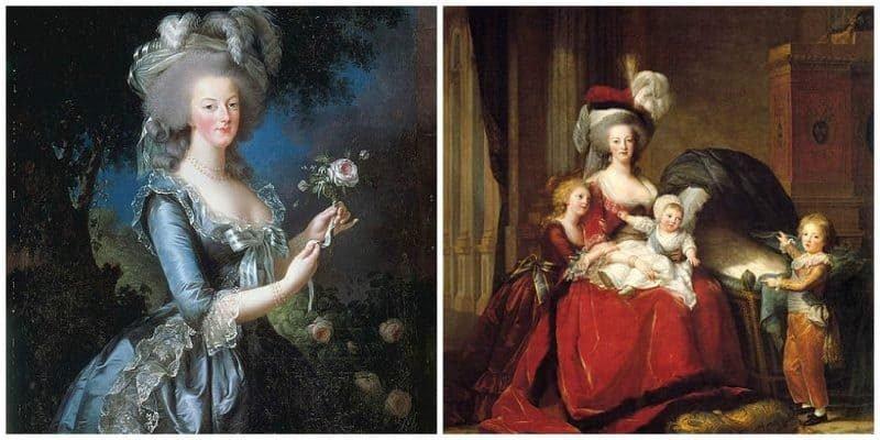 התמונה הימנית היא של מארי אנטואנט וילדיה (צוירה בשנת 1787). התמונה משמאל היא פורטרט של מארי אנטואנט משנת 1783. מקור תמונות ויקיפדיה.