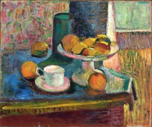 אנרי מאטיס - נוף דומם עם קומפוט תפוחים ותפוזים. שנת 1899. מקור צילום וויקיפדיה.