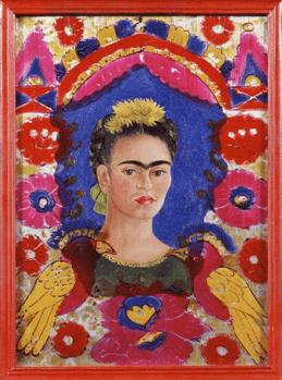 פרידה קאלו, דיוקן עצמי - המסגרת, 1938, שמן על זכוכית, 28.5X20.7 ס