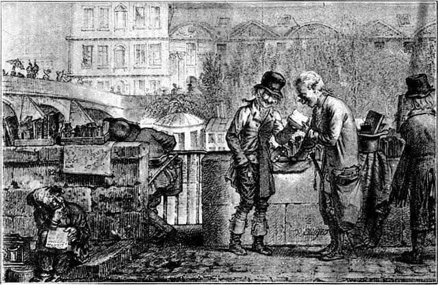 הבוקיניסט מוכר את סחורתו בפריז של שנת 1821. מקור ציור וויקיפדיה.