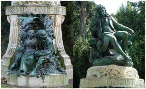 פסלו של ברנרדן דה סן-פייר בגן הצמחים בפריז, כשבבסיסו, לרגליו, פסליהם של פול ווירז'יני, מאת לואי אולווק (1861-1935). מקור צילום ויקיפדיה
