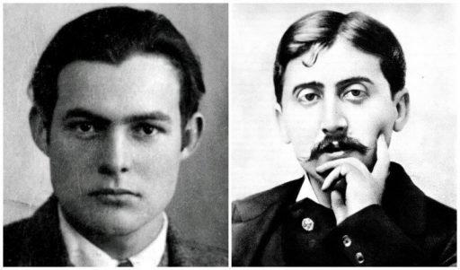 מרסל פרוסט וארנסט המינגווי - מקור צילום וויקיפדיה.