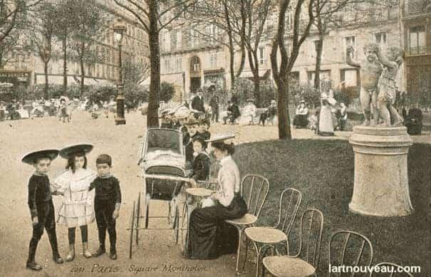 סקוור מונתולון בשנת 1900. מקור צילום אתר .lartnouveau.com