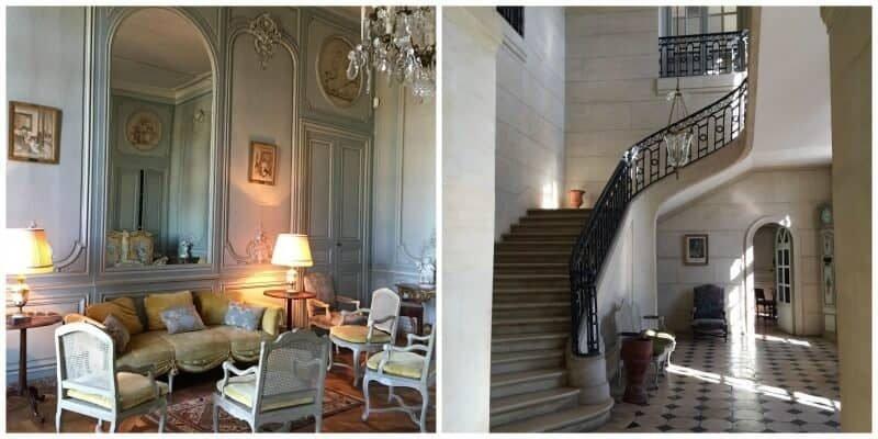 מימין חדר המדרגות המפואר ומשמאל אחד מהסלונים בארמון