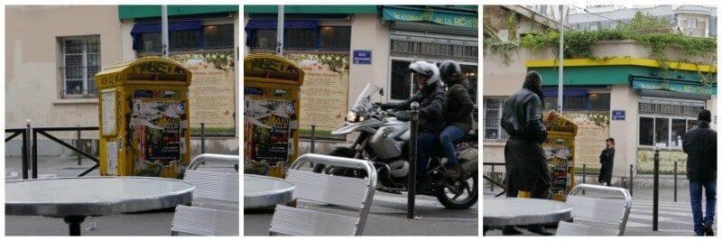 התיבה הצהובה שמול בית הקפה בפריז