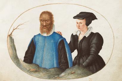 יוריס הופנגל, פטרוס גונזלס ואשתו, איור מהספר בעלי חיים וחרקים רציונליים, סביבות 1575/1580, גלריה לאומית לאמנות, וושינגטון