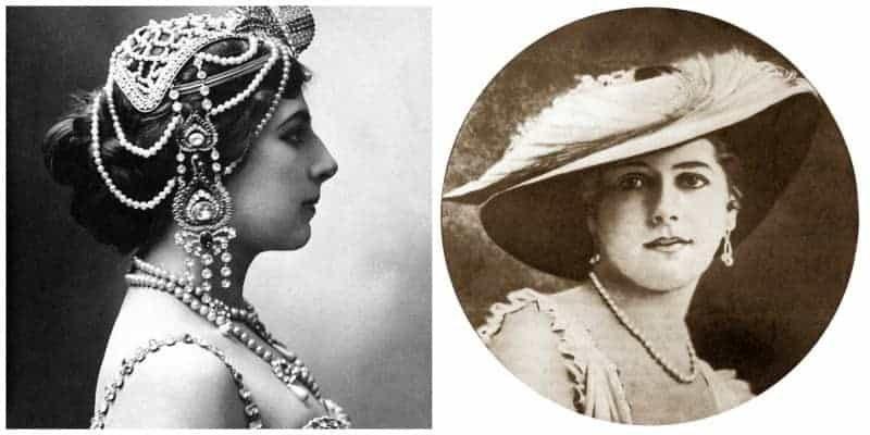 מימין צילום של מאטה הארי משנת 1910. משמאל צילום של מאטה הארי עם תכשיט ראש משנת 1909. מקור הצילומים: ויקיפדיה.