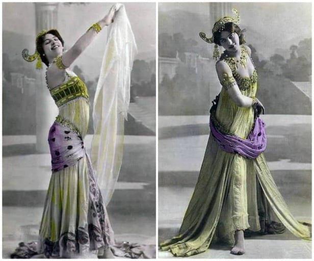 מאטה הארי בבגדי ריקוד ג'אוונזיים. תמונה משנת 1906. מקור צילום ויקיפדיה.