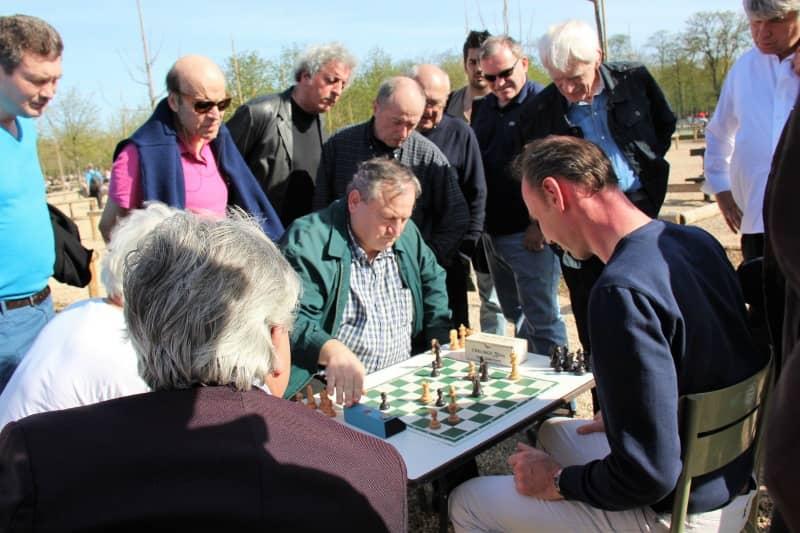 ישנם לא מעט חובבי שחמט שבאים לגני לוכסמבורג לא כדי לשחק אלא כדי לראות אחרים משחקים. צילום: יואל תמנליס