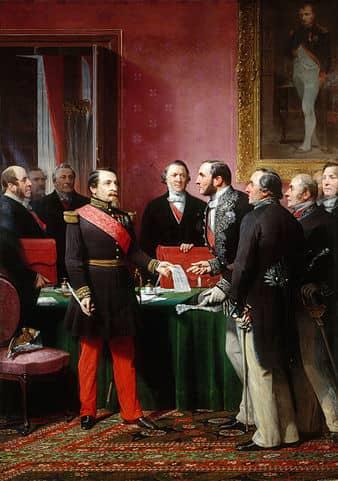 הברון אוסמן מגיש את תוכניתו לבניית פריז מחדש לנפוליון ה-3. מקור ציור: ויקיפדיה.