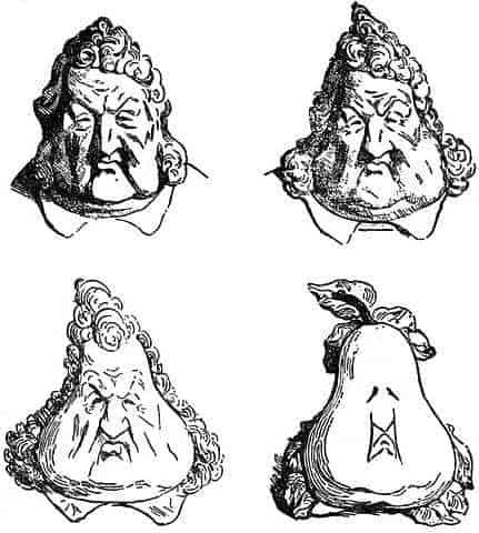 הקריקטורה המפורסמת של אונורה דומייה שבה הופכת דמותו של לואי פיליפ לאגס. מקור ציור: ויקיפדיה.