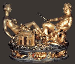 בנוונוטו צ'ליני, המלחייה של המלך פרנסוא ה-1, 1540-1543, זהב, מכוסה בחלקו אמייל, בסיס שנהב, המוזיאון לאמנויות יפות (Kunsthistorisches Museum), וינה גובה 26 ס