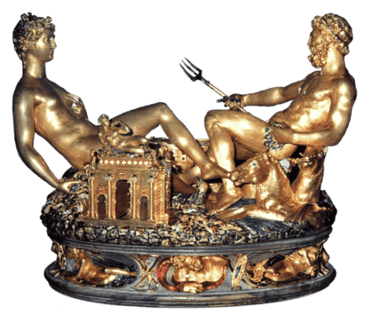 """בנוונוטו צ'ליני, המלחייה של המלך פרנסוא ה-1, 1540-1543, זהב, מכוסה בחלקו אמייל, בסיס שנהב, המוזיאון לאמנויות יפות (Kunsthistorisches Museum), וינה גובה 26 ס""""מ. מקור צילום ויקיפדיה."""