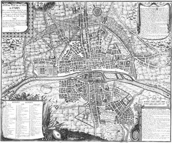 מפת פריז במאה ה-16. מקור צילום: ויקיפדיה.