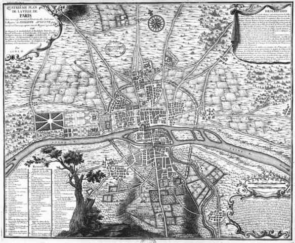 מפת פריז משנת 1223. שימו לב לחומה של פיליפ אוגוסט. מקור תמונה: ויקיפדיה.