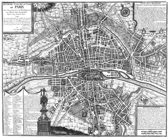 מפת פריז בשנת 1644. מקור צילום ויקיפדיה.