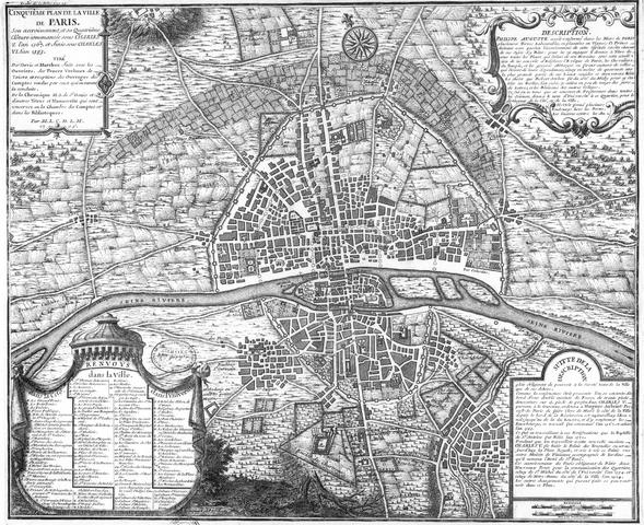 מפת פריז משנת 1383 כמה שנים לאחר סיום בניית החומה של שארל ה-5. מקור תמונה: ויקיפדיה.