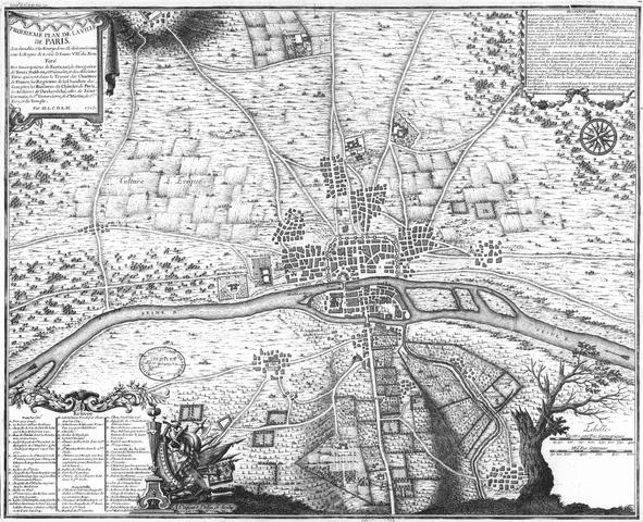 מפת פריז בשנת 1180. מקור תמונה: ויקיפדיה.