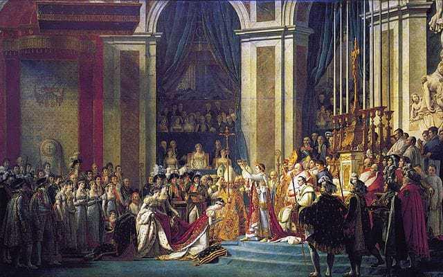 נפוליון מכתיר את עצמו לקיסר ואת ז'וזפין לקיסרית. ציור מאת ז'אק לואי דוד. מקור ציור: ויקיפדיה.