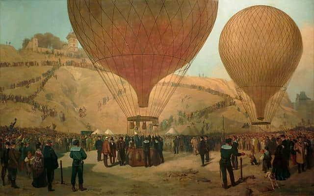 שימוש בכדורים פורחים בעת המצור על פריז. מקור ציור: ויקיפדיה.