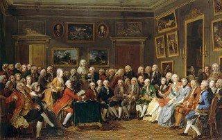 סלון ספרותי בפריז של המאה ה-18. מקור תמונה ויקיפדיה.