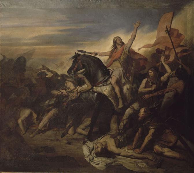 המלך כלוביס מוביל את צבאו בקרב טולביאק. ציור מאת ארי שפר. מקור תמונה: ויקיפדיה.
