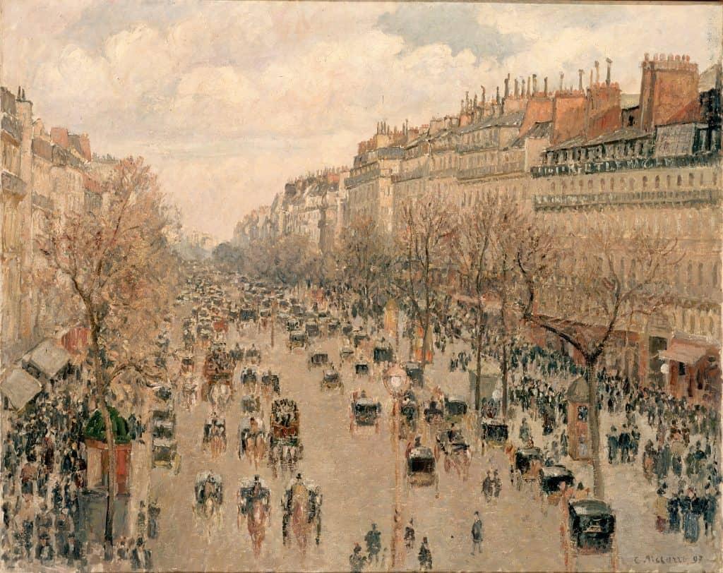 Boulevard Montmartre à Paris, 1897 בולבאר מונמארטר בפריז, 1897, מקור צילום: ויקימדיה