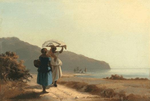 Camille Pissarro, Deux femmes causant au bord de la mer, 1856 קאמי פיסארו, שתי נשים משוחחות בחוף הים, 1856